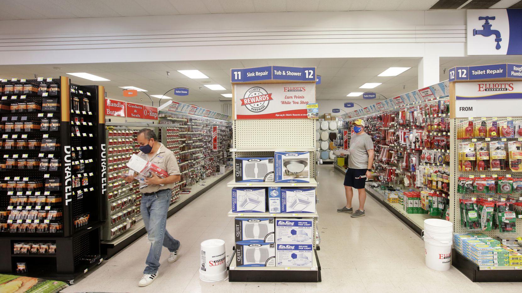 Customers shop at Elliott's Hardware in Plano, TX, on Mar. 27, 2021.