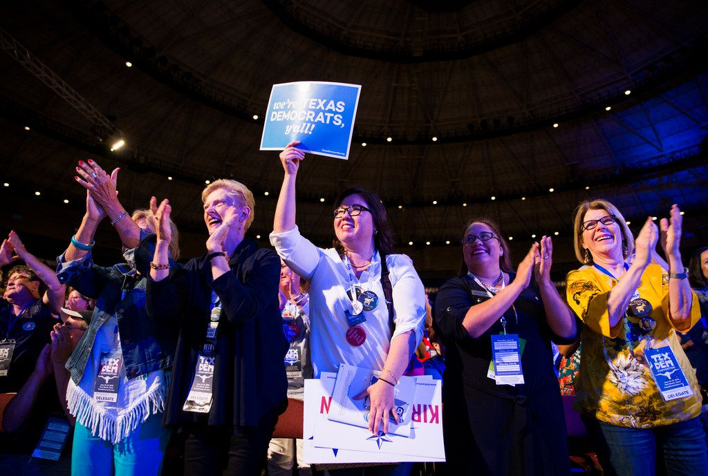 Delegates cheer during the Texas Democratic Convention on Friday, June 22, 2018 at the Fort Worth Convention Center in Fort Worth. (Ashley Landis/The Dallas Morning News)