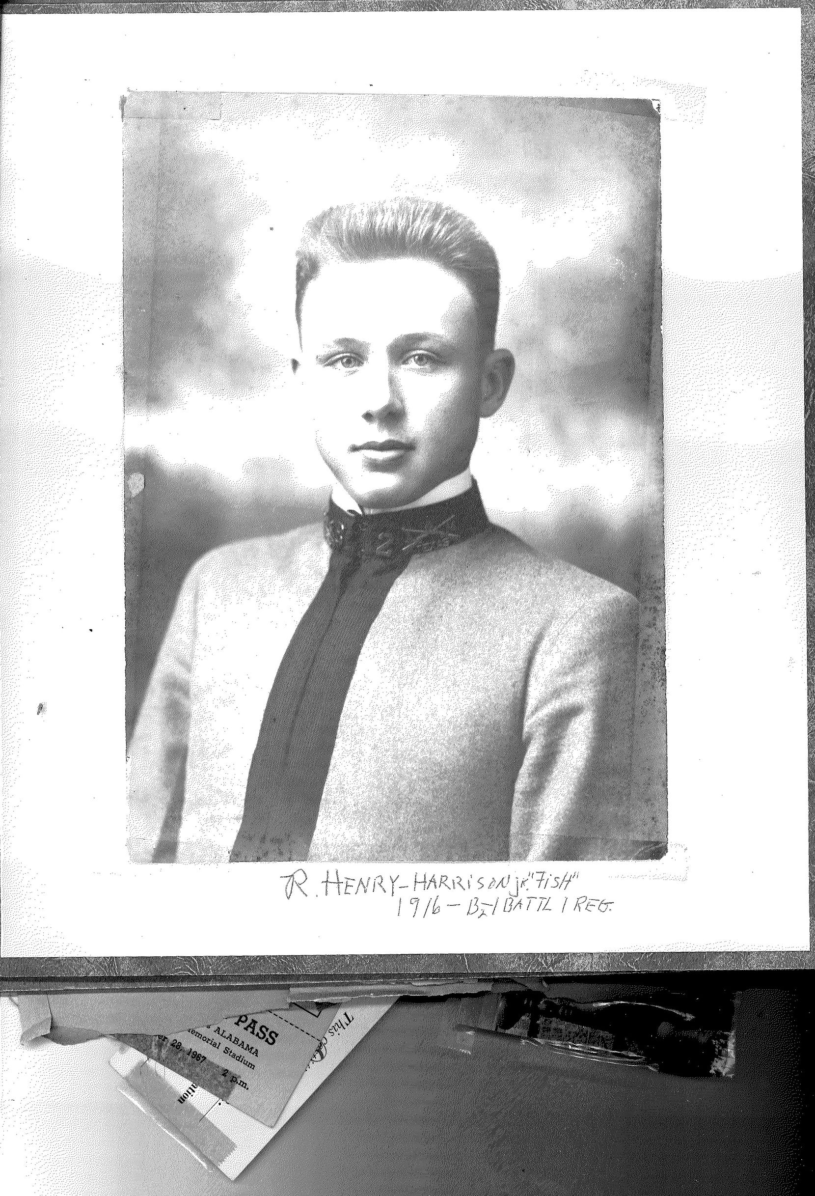 "The freshman class picture of Chick Harrison. Texas A&M player Richard Henry ""Chick"" Harrison played for the Aggies in 1917, left for World War I, and was then summoned back in a letter by legendary coach D.X. Bible. Harrison had also suffered from the Spanish Flu."