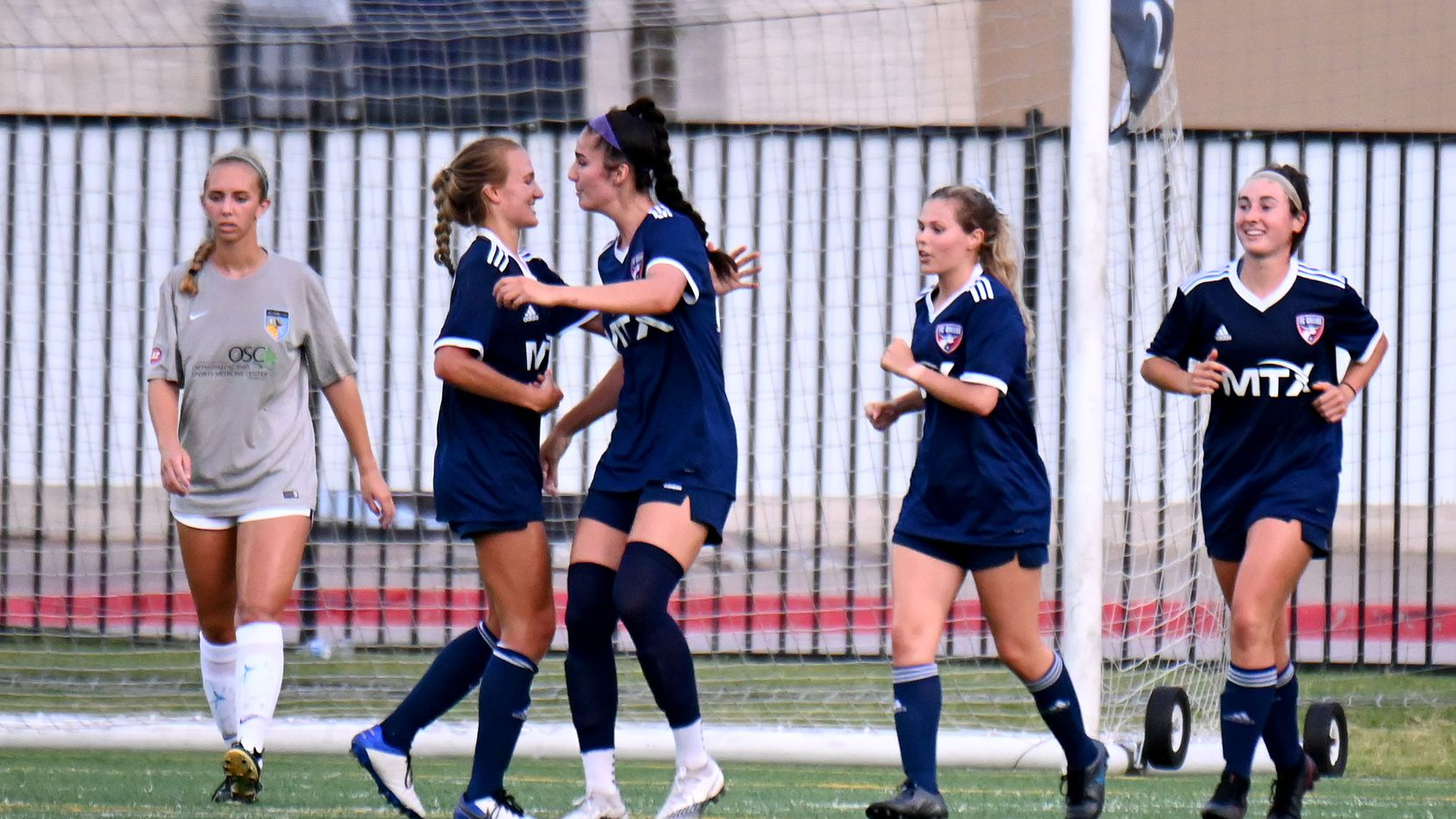 FC Dallas Diana Ordonez, second from left, celebrates her second half goal with during a WPSL game between Oklahoma City FC and FC Dallas, Tuesday, June 30, 2021, in Frisco, Texas. (Matt Strasen/Special Contributor)