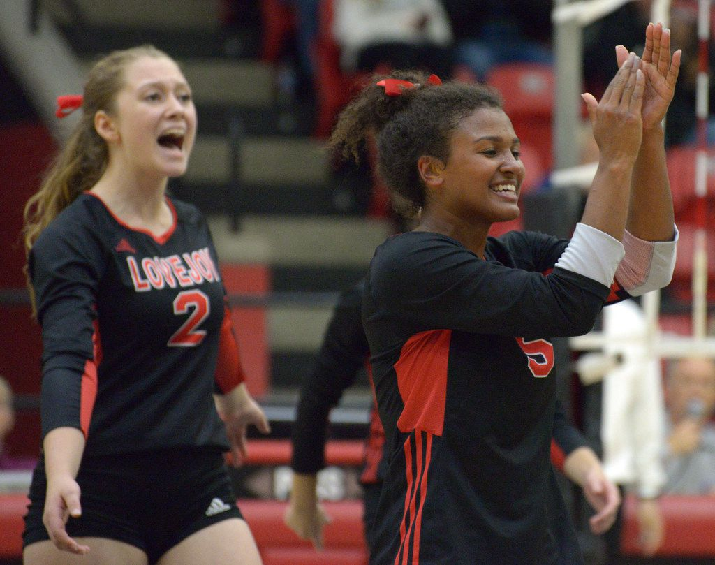 Lovejoy's Cecily Bramschreiber (5) cheers with teammates after a point during a high school volleyball match between McKinney North and Lovejoy, Thursday, Oct. 29, 2019 in Lucas, Tex. Lovejoy won in straight sets. (Photo by Matt Strasen/Special Contributor)