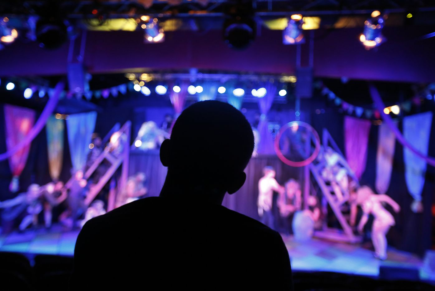 Director Derek Whitener watches his actors perform the first act of Pippin during a dress rehearsal on July 18, 2017.