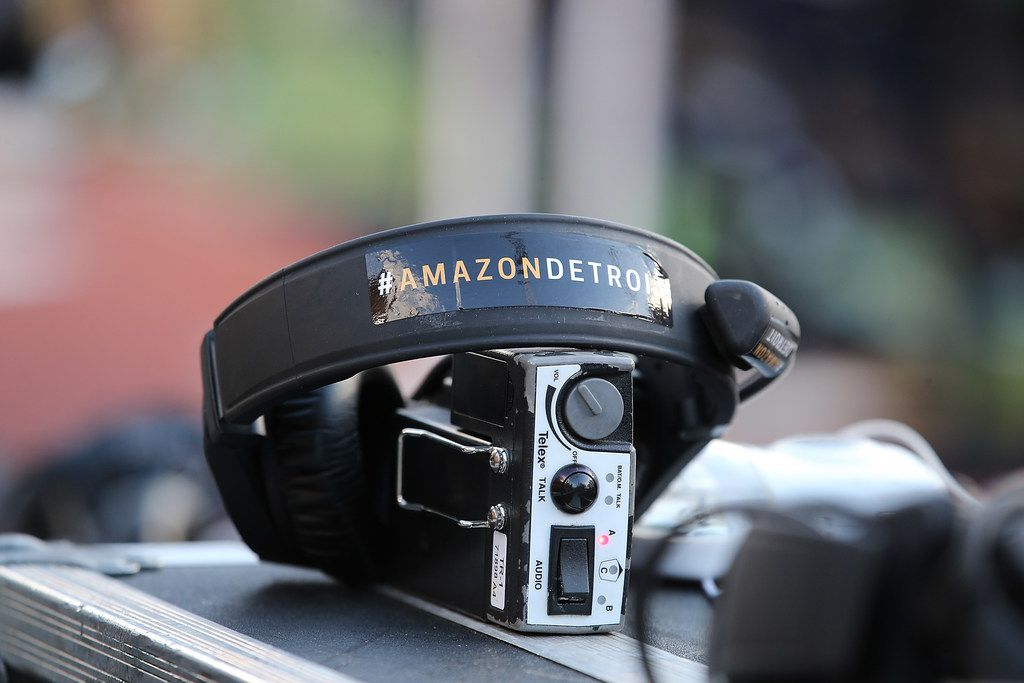 ANN ARBOR, MI - OCTOBER 07: Stickers promoting the Amazon move to Detroit are seen on the equipment of the Michigan State Spartans coaching staff before the game against the Michigan Wolverines at Michigan Stadium on October 7, 2017 in Ann Arbor, Michigan. (Photo by Leon Halip/Getty Images)