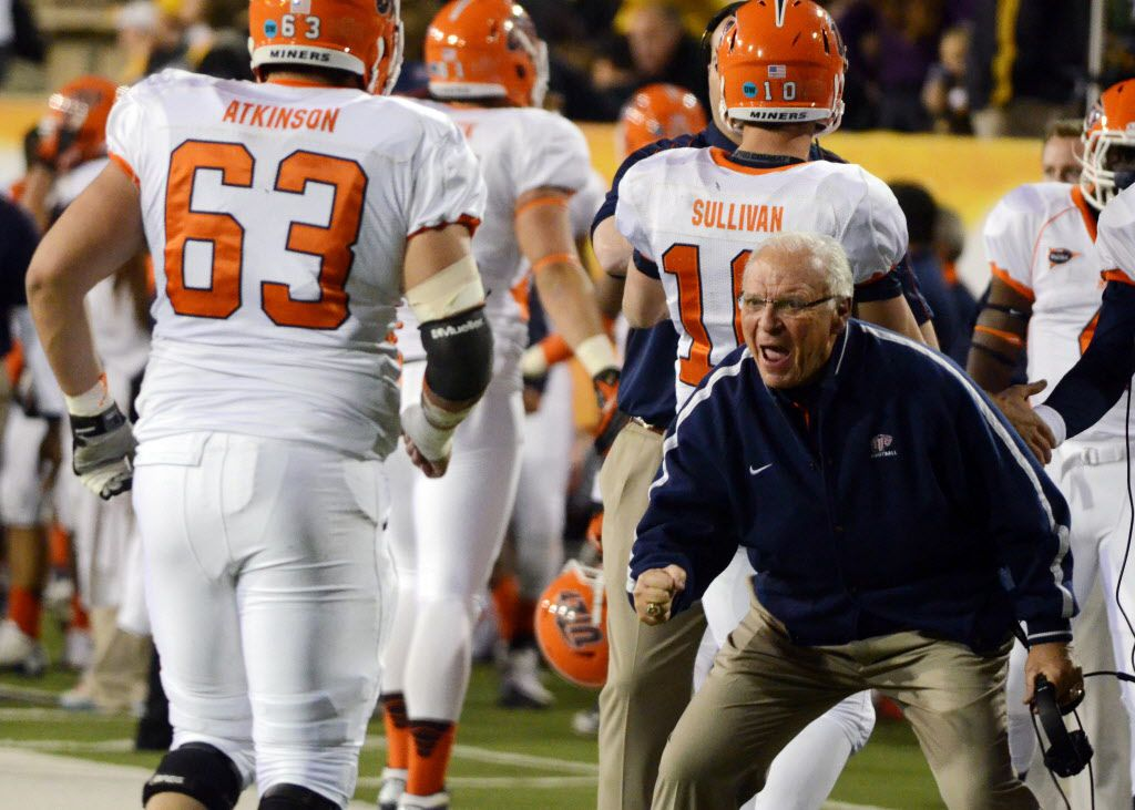 November 17, 2012; Hattiesburg, MS, USA; UTEP Miners head coach Mike Price celebrates his team scoring a field goal in the second quarter against the Southern Miss Golden Eagles at M.M. Roberts Stadium. Mandatory Credit: Chuck Cook - US PRESSWIRE