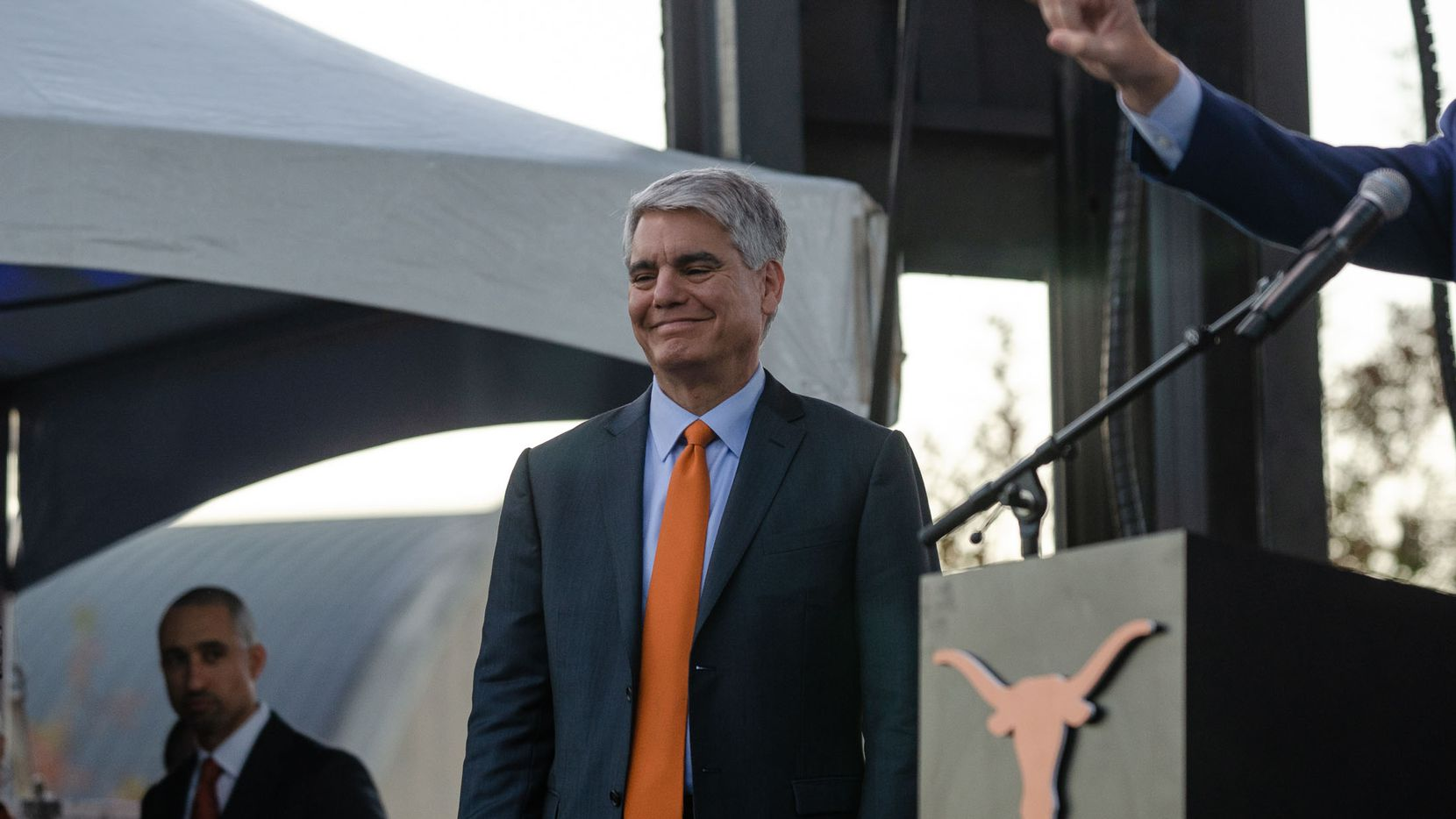 Greg Fenves, the president of the University of Texas at Austin, appeared Dec. 3 during the Moody Center groundbreaking ceremony.