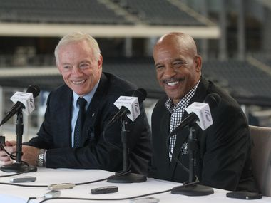 FILE — Dallas Cowboys owner Jerry Jones and Drew Pearson at a press conference at Cowboys Stadium in Arlington, Texas, on August 19, 2011. Pearson is busy making plans after he was recently elected into the Pro Football Hall of Fame.