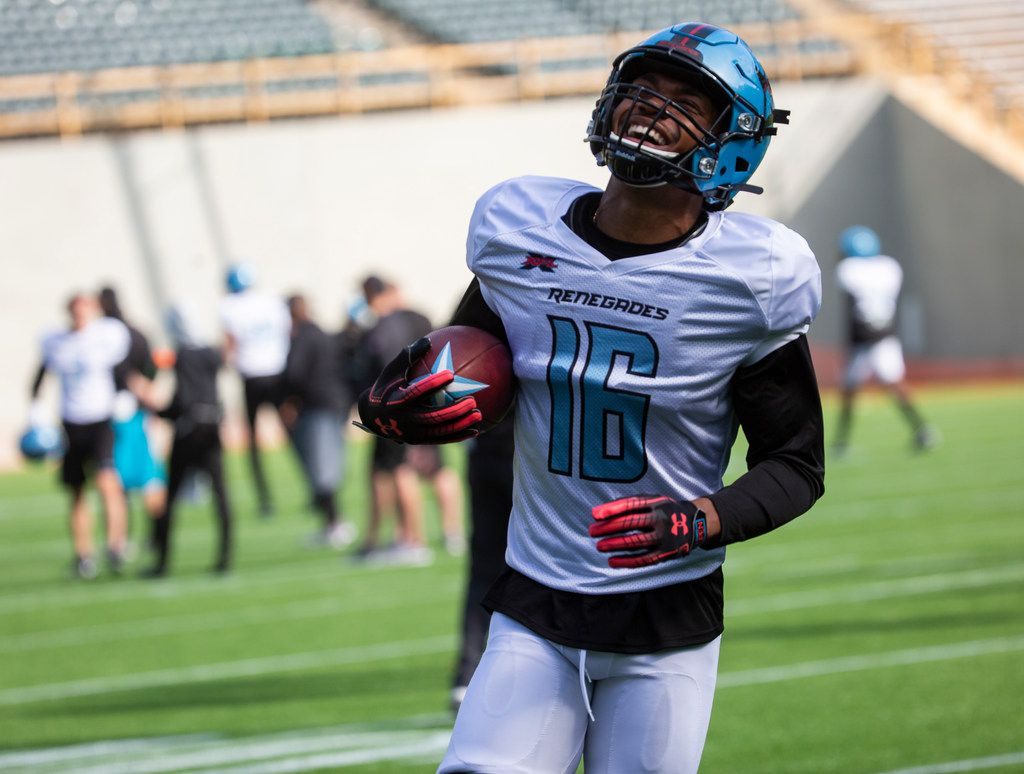 The Dallas Renegades wide receiver Jerrod Heard runs a ball in during practice on Jan. 27, 2020 at Globe Life Park in Arlington. The team start their first week of practice this season after completing training camp. (Juan Figueroa/ The Dallas Morning News)