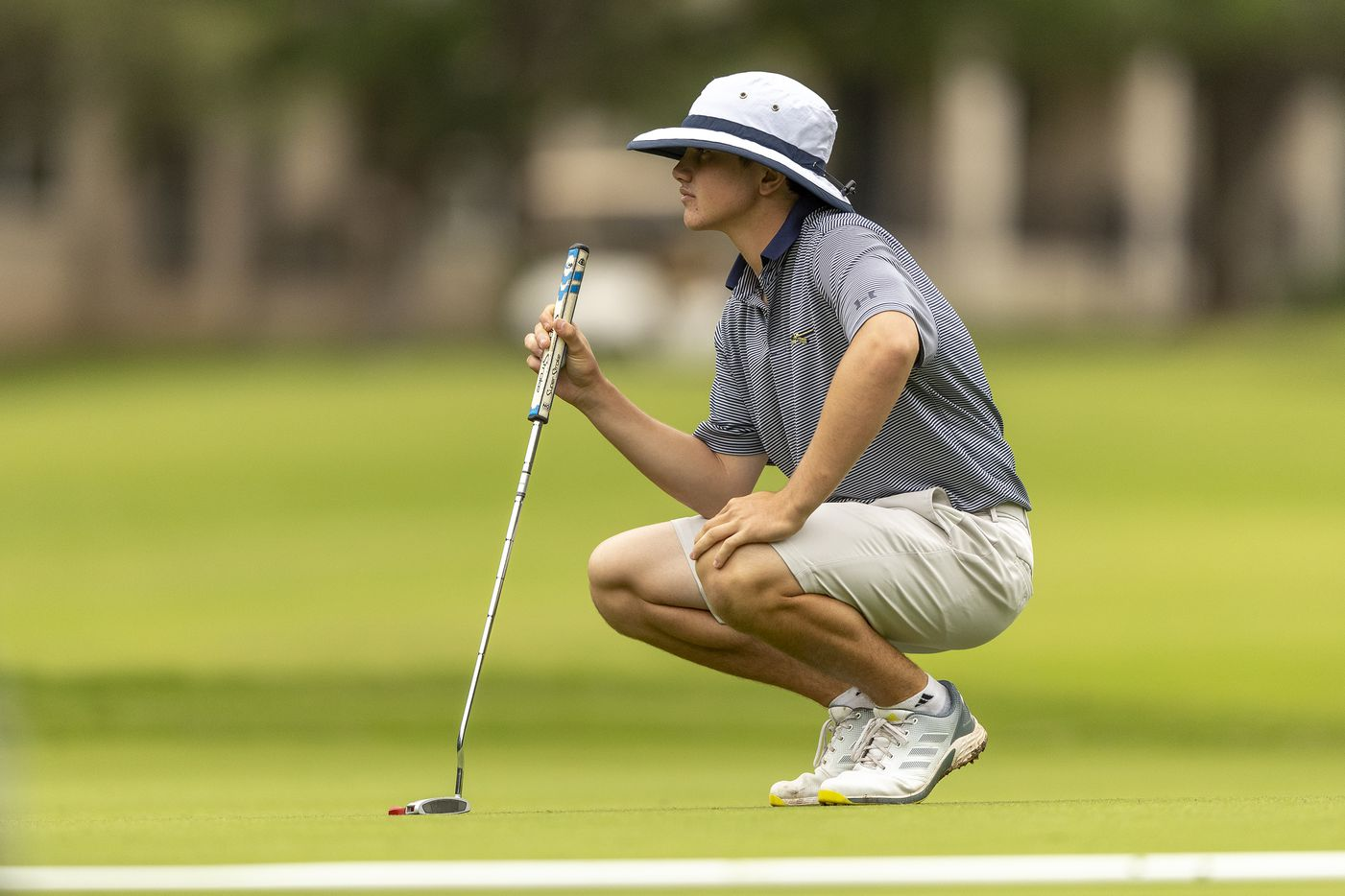 KellerÕs Kaelen Dulany studies his shot on the 1st green during the final round of the UIL Class 6A boys golf tournament in Georgetown, Tuesday, May 18, 2021. (Stephen Spillman/Special Contributor)