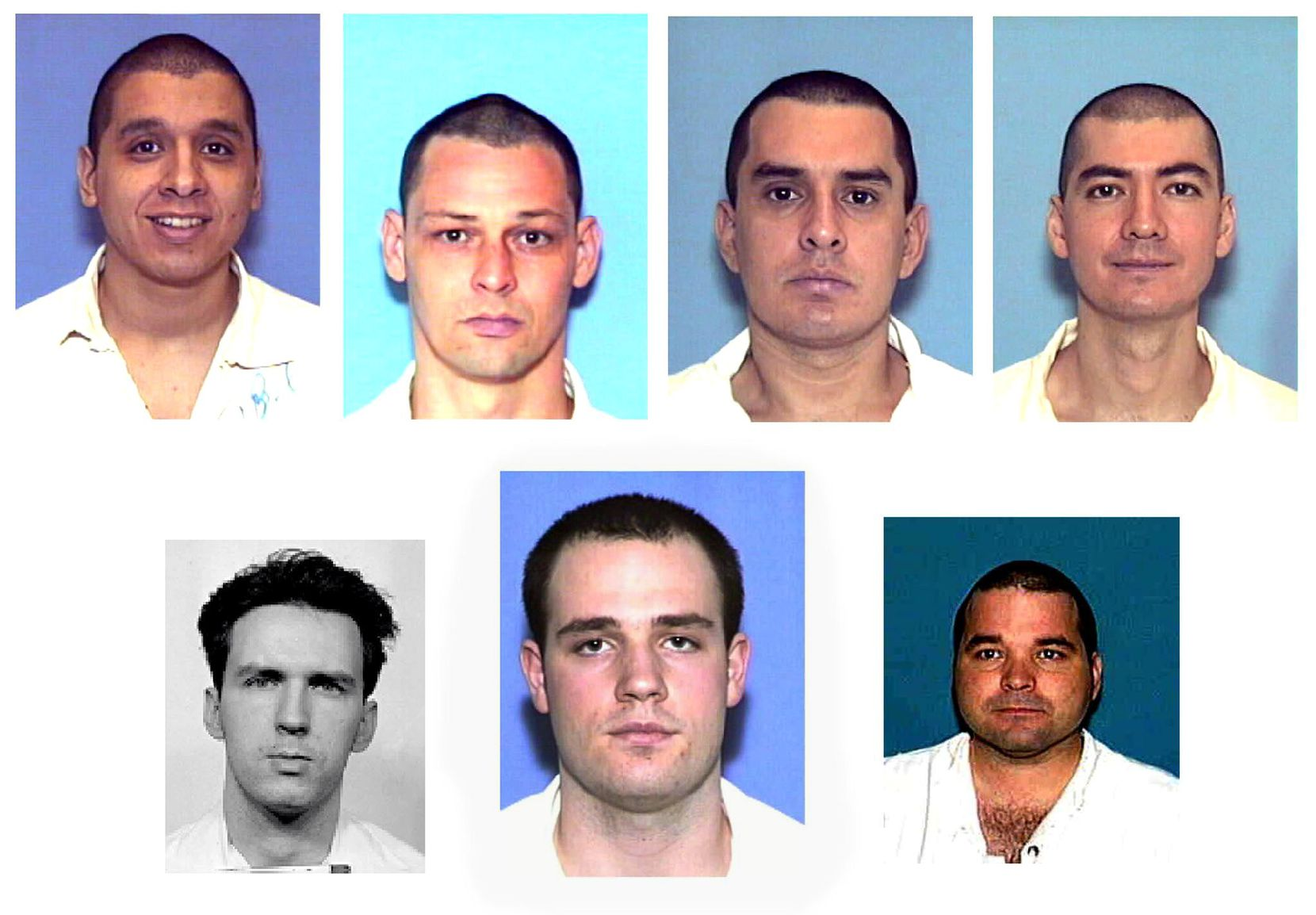 Six members of the Texas Seven were sentenced to death in the Dec. 24, 2000, shooting of Irving police Officer Aubrey Hawkins. From top left, Joseph Garcia, Donald Newbury, George Rivas, Larry Harper. From bottom left, Patrick Murphy, Randy Halprin and Michael Rodriguez.