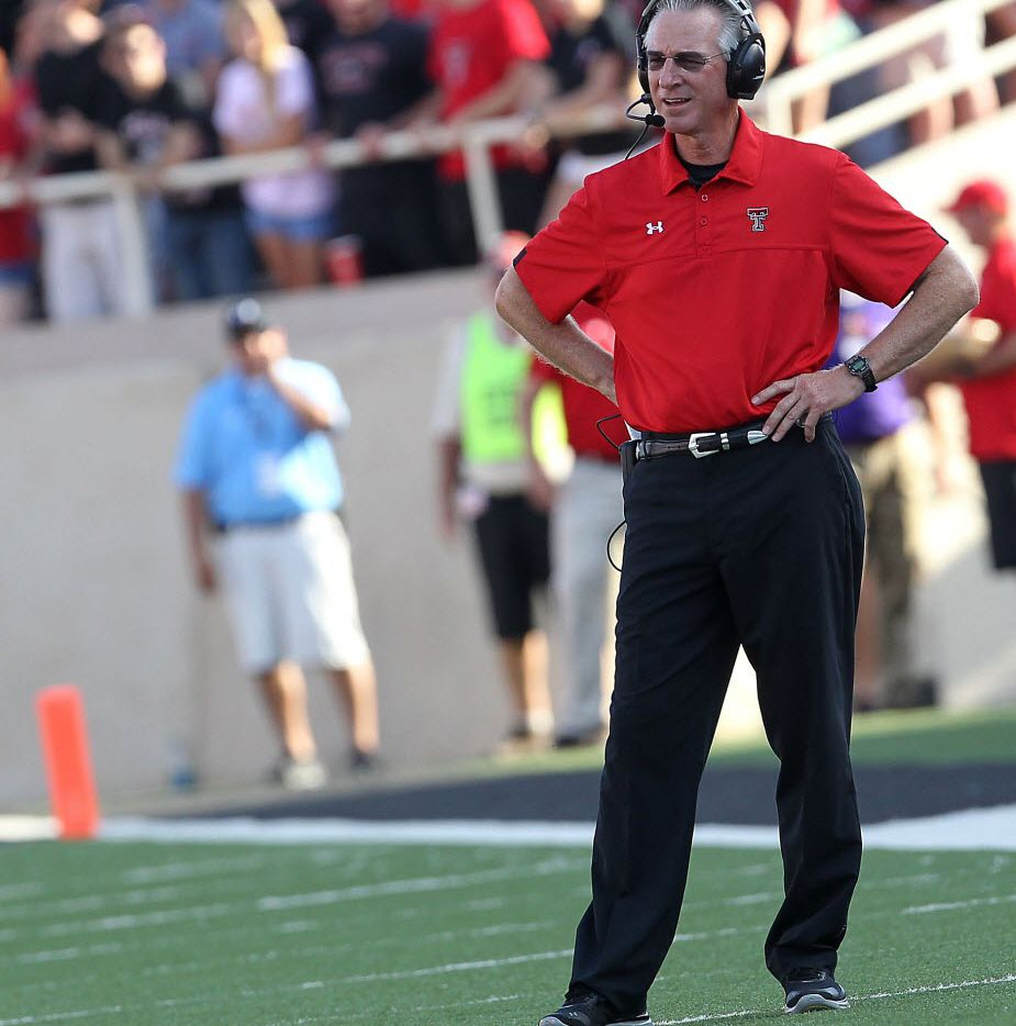 Texas Tech coach Tommy Tuberville gives instructions against Northwestern State during their NCAA college football game in Lubbock, Texas, Saturday, Sept. 1, 2012. (AP Photo/Lubbock Avalanche-Journal,Zach Long) 09292012xSPORTS