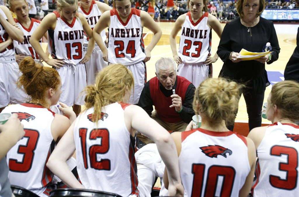 Argyle's head coach Skip Townsend speaks to his team during the UIL Girls State Basketball 4A semifinal at the Alamodome in San Antonio, Friday, March 4, 2016. (Stephen Spillman/Special Contributor)