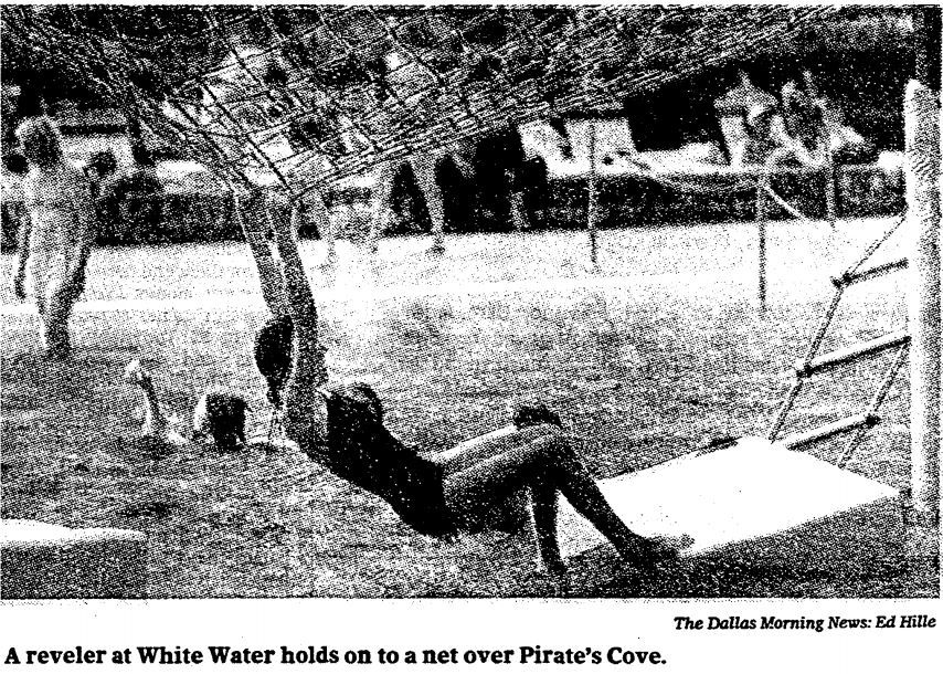 Pirate's Cove at White Water was known for water-based obstacles and activities. A swimmer is pictured dangling over a swimming hole in 1982.