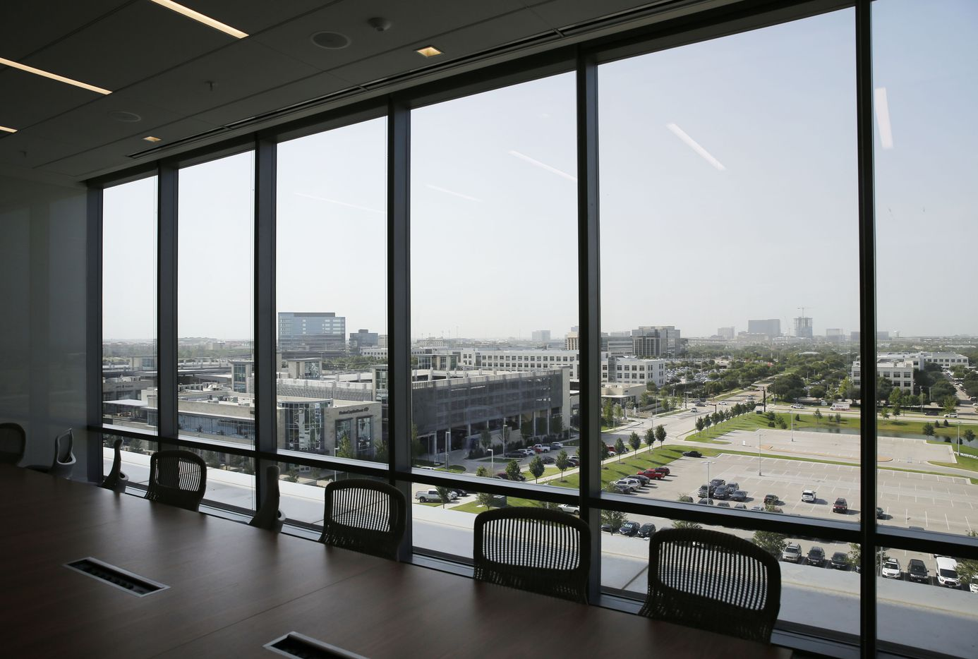 View from a conference room on the sixth floor of the leased office space, in a building shared with the Dallas Cowboys headquarters.