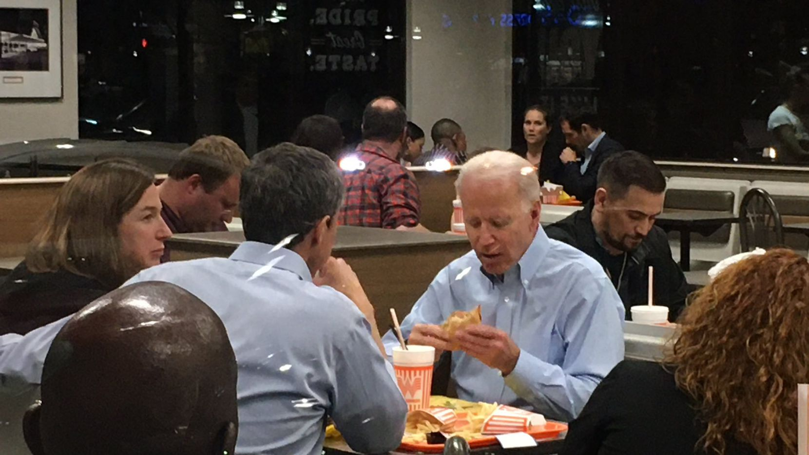 Vice presidential candidate Joe Biden joins Beto and Amy O'Rourke at Whataburger in Dallas after Beto O'Rourke endorsed Biden for the Democratic nomination for president in Dallas on Monday, March 2.
