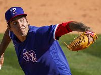 Texas Rangers pitcher Hans Crouse delivers during the fifth inning of a spring training game against the Los Angeles Angels at Tempe Diablo Stadium on Wednesday, March 3, 2021, in Tempe, Ariz.