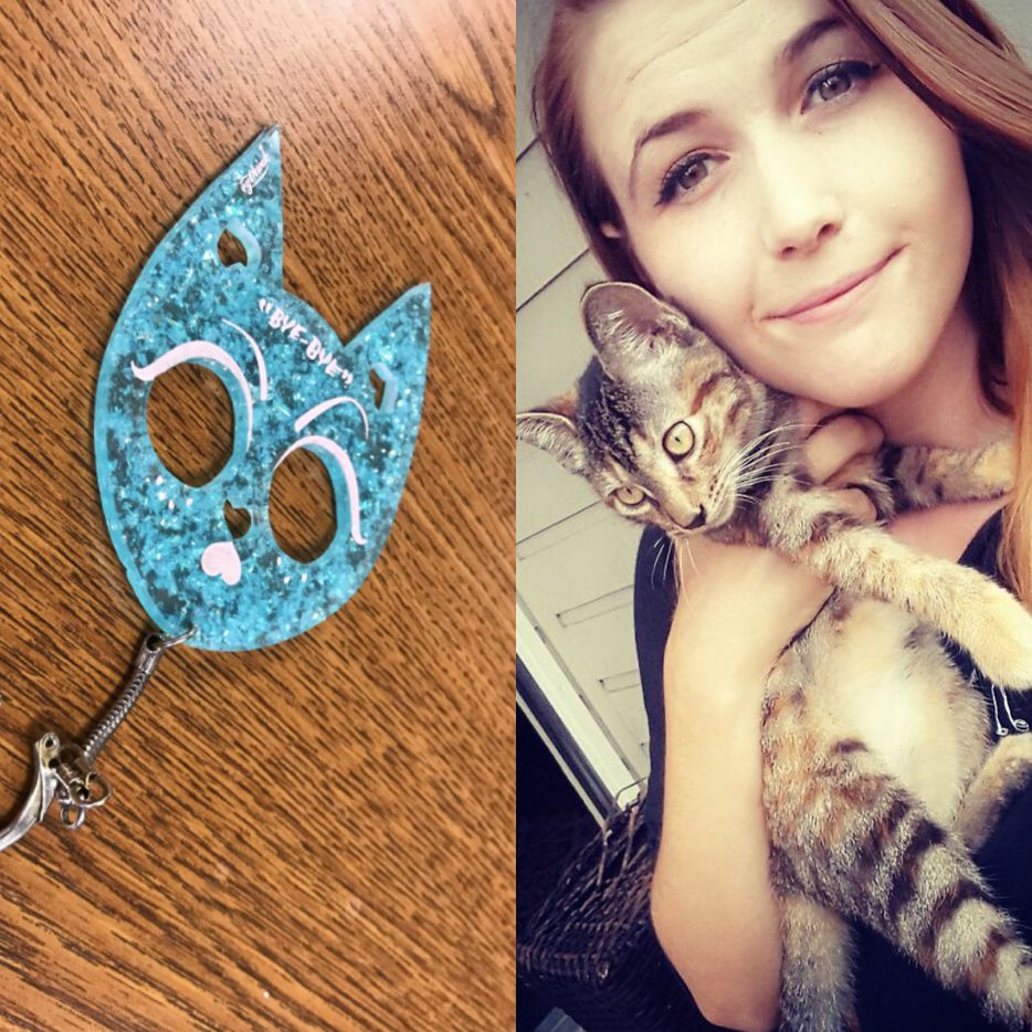 Kyli Phillips, right, was arrested for a traffic violation on April 19, 2018 and found to be in possession of a kitty keychain, left, a small plastic self-defense illegal in the state of Texas under a law banning brass knuckles. She is waiting to hear if county prosecutors will charge her with a crime.