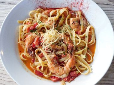 Aleppo pepper-marinated shrimp is pictured in the fettuccine at Bear Creek Bistro.