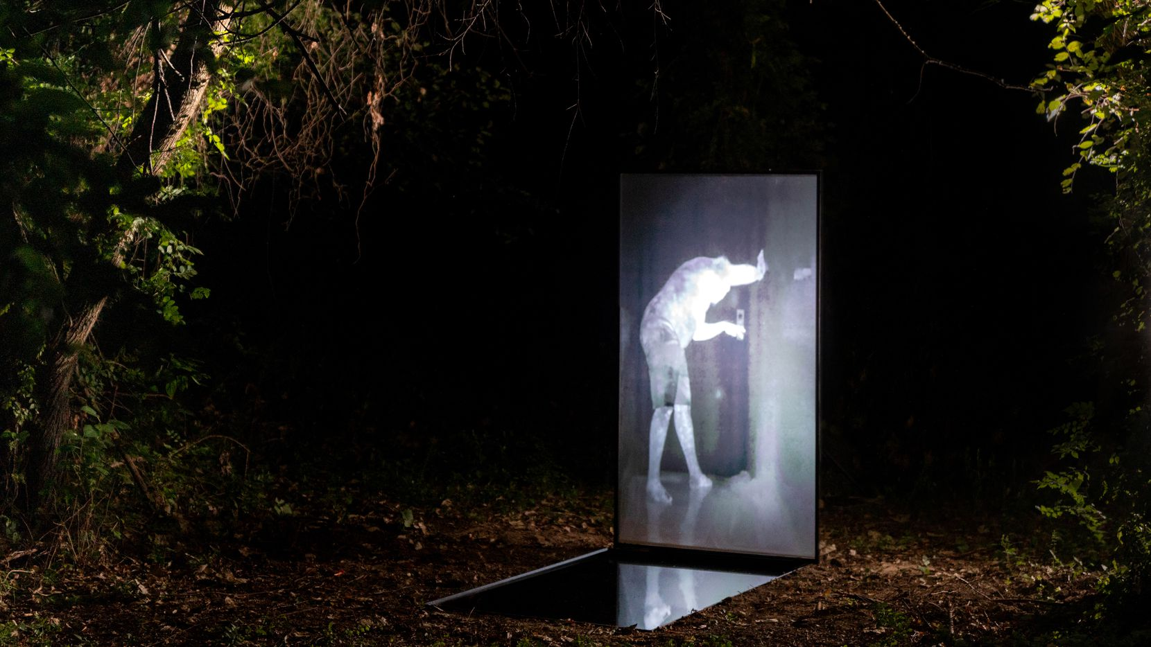 On view through Oct. 17 at the outdoor gallery Sweet Pass Sculpture Park, 'Breath Ascent Reveal' is a haunting nighttime installation.