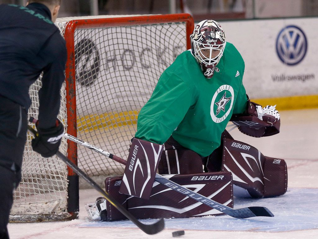 FILE - Stars goalie Colton Point practices during development camp at StarCenter Frisco in Frisco on Tuesday, June 26, 2018.