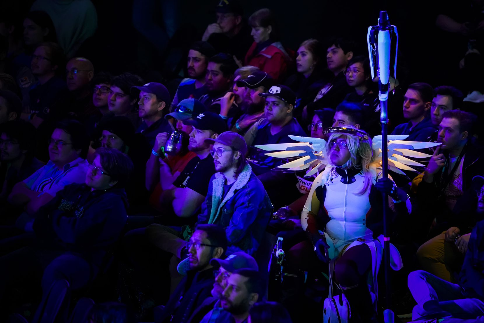 Dallas Fuel fans watch during a Overwatch League match against the Los Angeles Valiant at the Arlington Esports Stadium on Saturday, Feb. 8, 2020, in Arlington.
