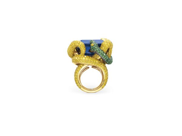 Intertwined-snake ring of tanzanite, $56,250
