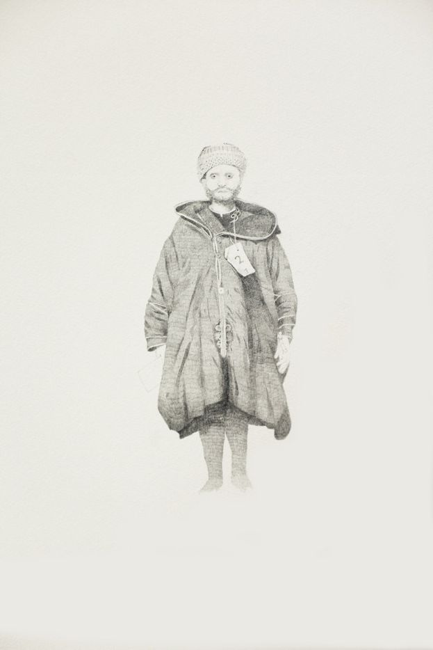 Immigrant series Moroccan, 2017, by Sarah Ball; graphite drawing on paper