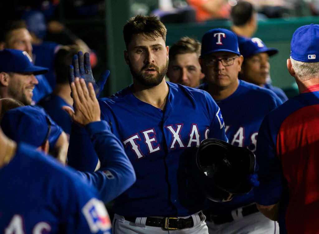 Texas Rangers center fielder Joey Gallo (13) celebrates a home run during the eighth inning of an MLB game between the Texas Rangers and the Seattle Mariners on Tuesday, May 21, 2019 at Globe Life Park in Arlington. (Ashley Landis/The Dallas Morning News)