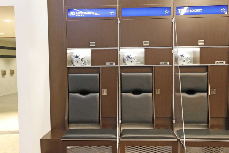 Plexiglass dividers will separate Cowboys players in the locker room.