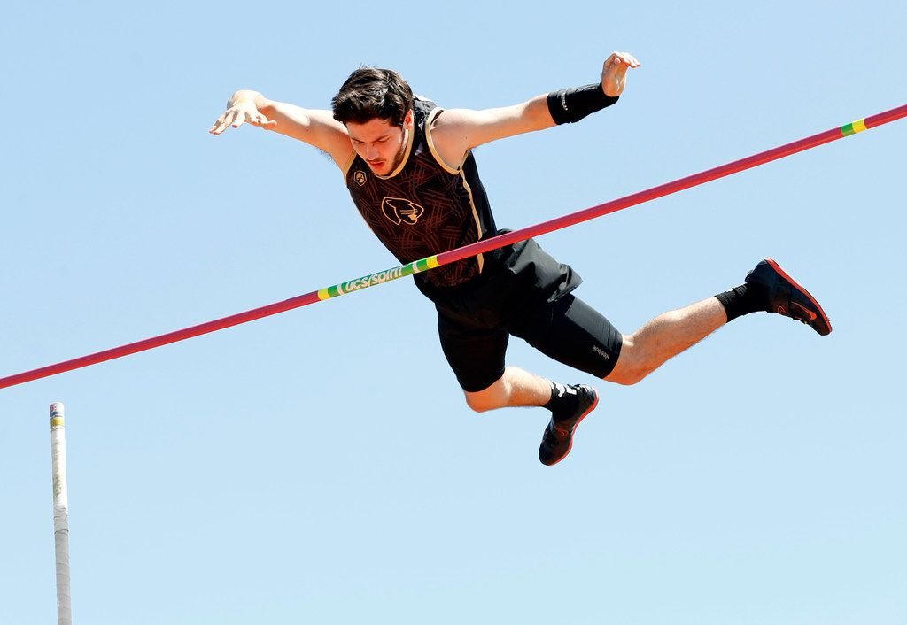 Pole vaulter Connor Gregston of Keller Fossil Ridge clears the bar at 15 feet-3 inches in the 6A Region I boys pole vault at UTA's Mavericks in Arlington, Texas, Friday, April 26, 2019. Gregston finished in 2nd place and qualified for the State Meet. (Tom Fox/The Dallas Morning News)