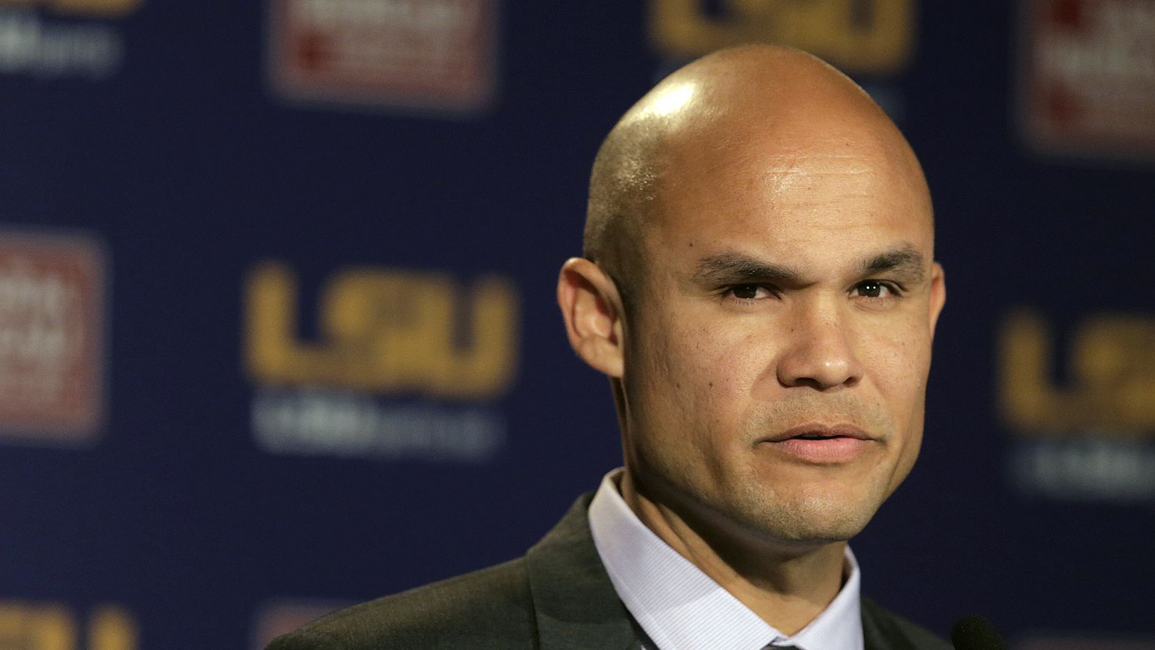 FILE - In this Jan. 5, 2016, file photo, LSU defensive coordinator Dave Aranda is shown during a press conference in Baton Rouge, La. Baylor hired LSU defensive coordinator Dave Aranda as its new head coach Thursday, Jan. 16, 2020, three days after the Tigers completed their undefeated national championship.