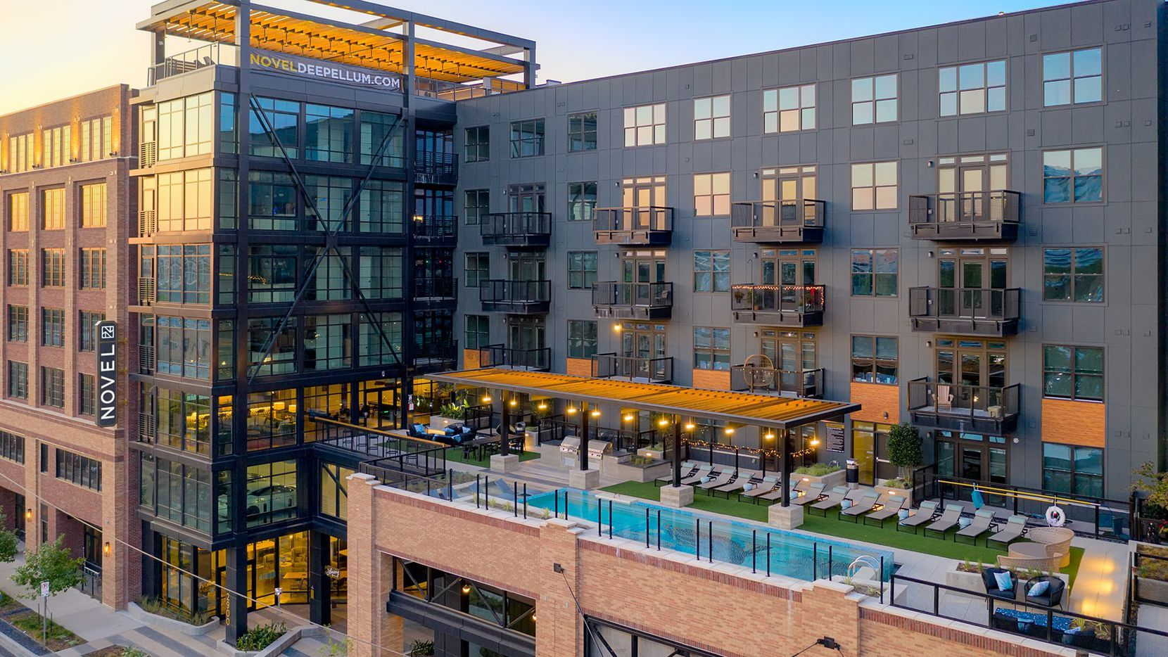 The seven-story Novel Deep Ellum apartments and retail building is on Canton Street just east of downtown Dallas.