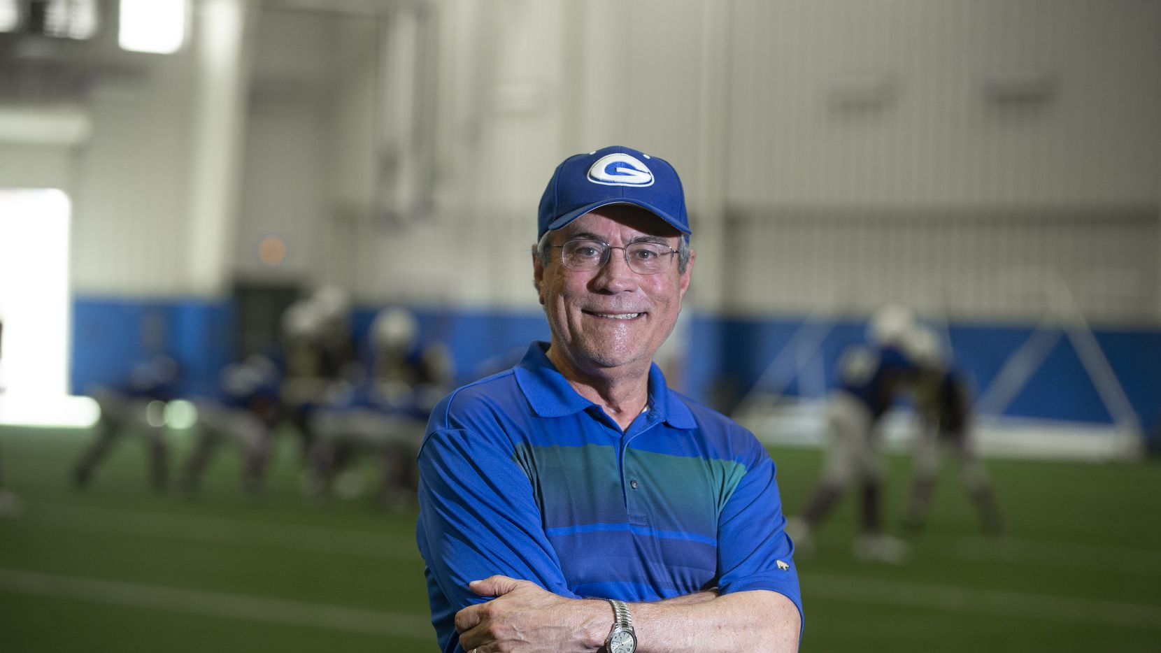 Former Grand Prairie ISD executive   director of athletics Gary Bartel, poses for a photo at Grand Prairie High School's indoor practice facility, Wednesday, August 11, 2021. Bartel was on a ventilator for 103 days battling COVID-19.