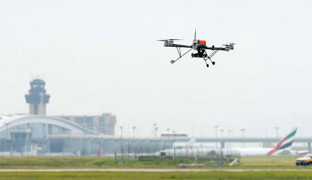 An AR 200 drone during a press demonstration at Dallas Fort Worth International Airport Fire Training Research Center.