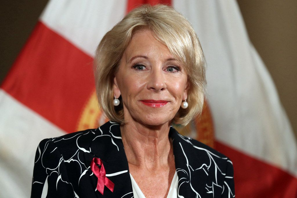 U.S. Secretary of Education Betsy Devos speaks during a news conference at the Marriot Heron Bay in Coral Springs, Fla., in 2018. DeVos defended deep cuts to Special Olympics, while urging Congress to spend millions more on charter schools. (Amy Beth Bennett/Sun Sentinel)