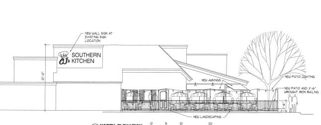 A drawing showing signage for CJ's Southern Kitchen was submitted to the city of Grapevine during the permitting process.