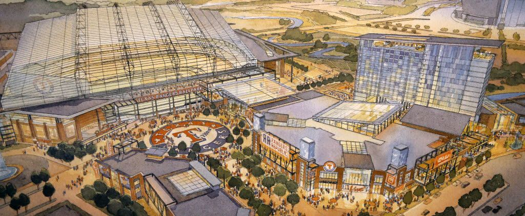 An artist rendering shows the proposed retractable-roof ballpark (left) and new entertainment venue and hotel (right). (Populous)