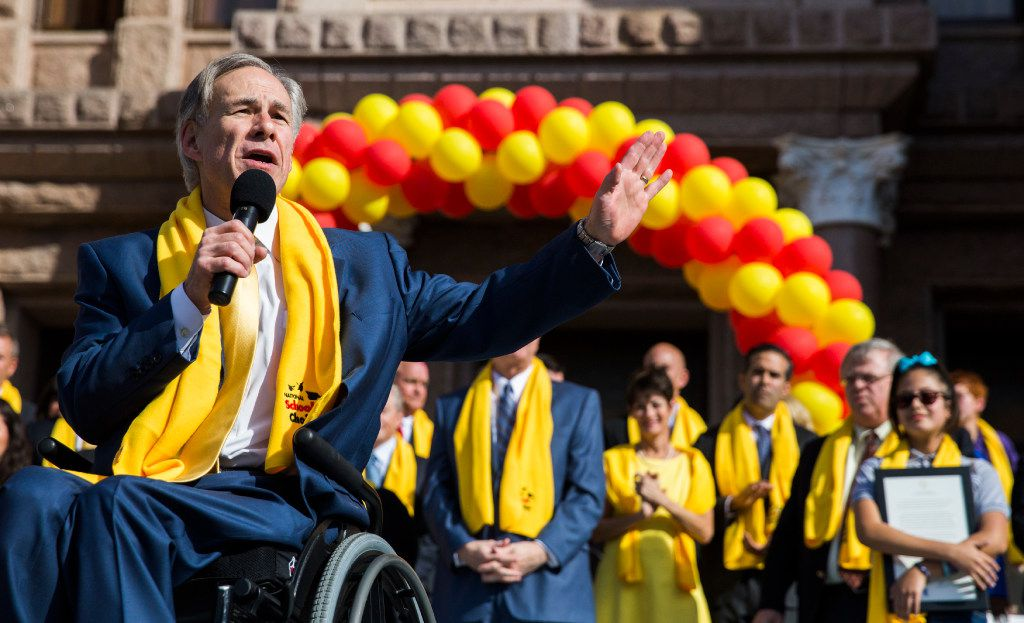 Texas Gov. Greg Abbott speaks during a rally in support of school choice - which could include public money going to private schools - on the steps of the state Capitol in Austin on Tuesday. (Ashley Landis/The Dallas Morning News)