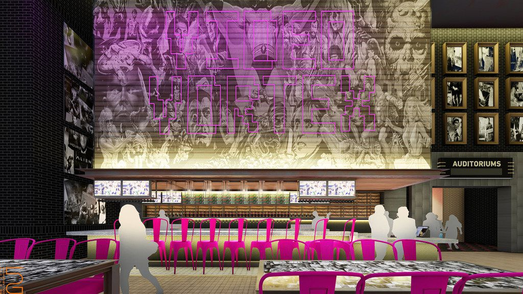 An internal rendering of the Video Vortex bar, part of the upcoming Alamo Drafthouse in Frisco.
