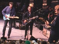 "James Taylor and Jackson Browne sing a duet of ""Take It Easy"" during a sold-out show at Wrigley Field in Chicago on Thursday night, June 30, 2016."