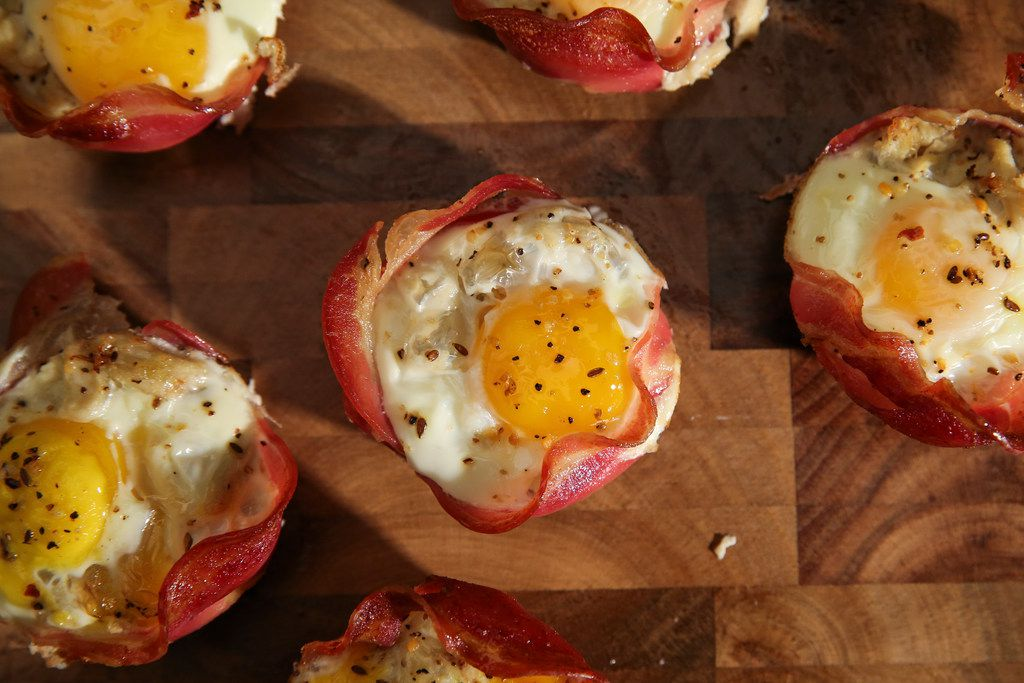 Baked Pancetta baskets with tomatoes, crab, and eggs