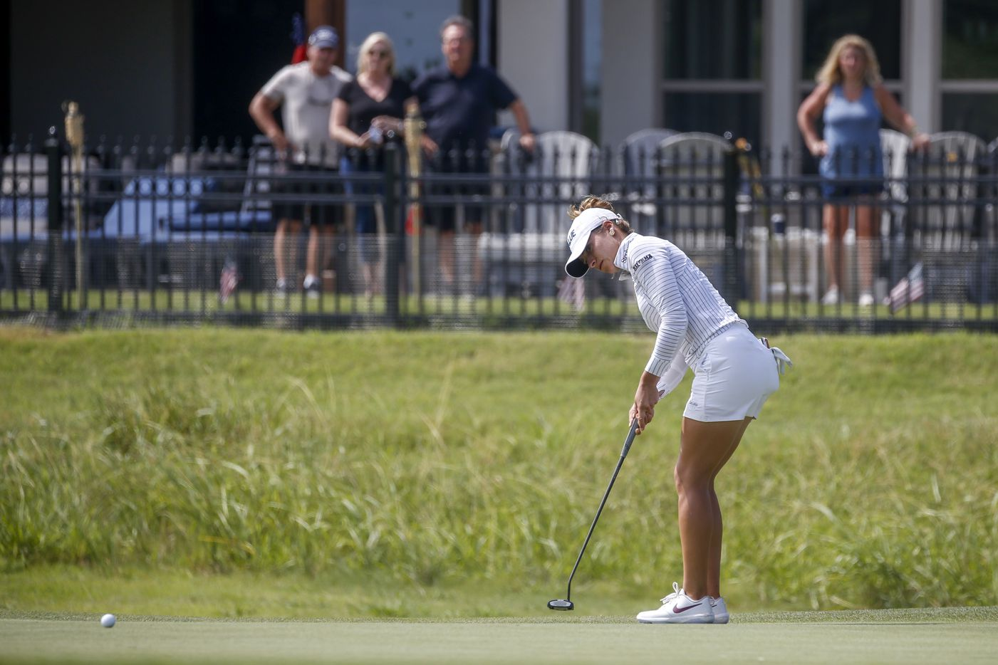 Professional golfer Gaby Lopez puts on the No. 2 green during the third round of the LPGA VOA Classic on Saturday, July 3, 2021, in The Colony, Texas. (Elias Valverde II/The Dallas Morning News)
