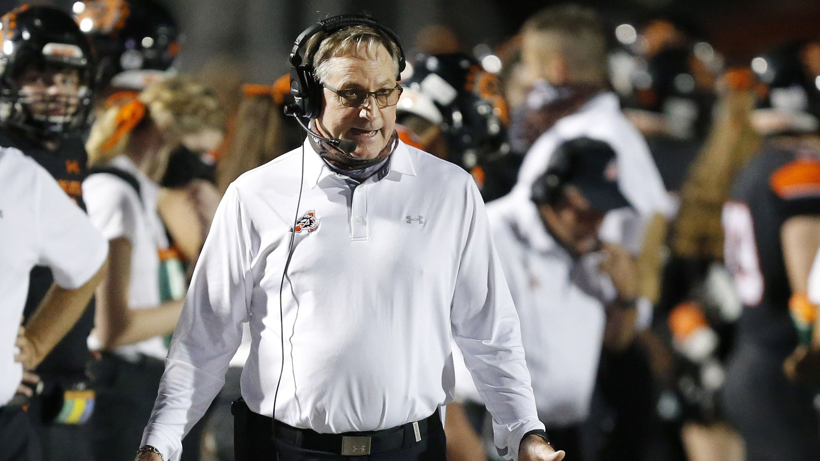 Aledo head coach Tim Buchanan is pictured on the sideline as his team faces Frisco Lone Star at Bearcat Stadium in Aledo, Texas, Friday, October 2 2020. Aledo won, 34-32. (Tom Fox/The Dallas Morning News)