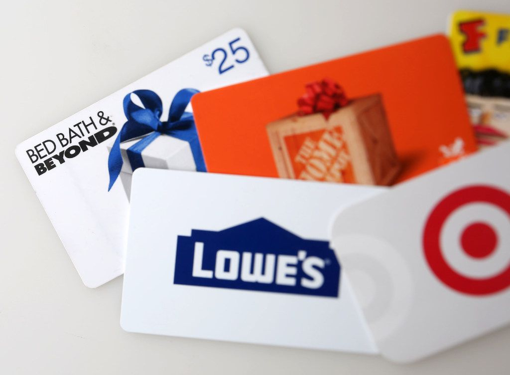 Gift cards photographed in The Dallas Morning News studio on Monday.