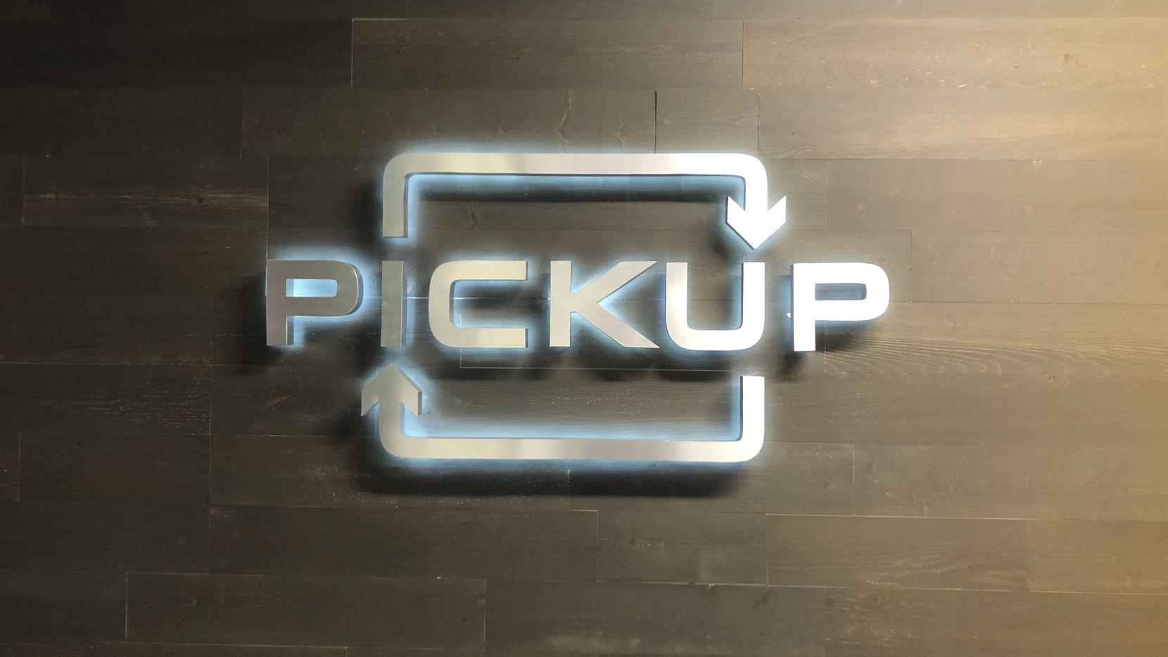 Plano-based Pickup's company logo at its headquarters at 5068 Plano Parkway.
