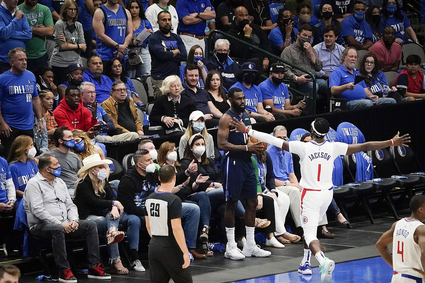 LA Clippers guard Reggie Jackson (1) tries to distract Dallas Mavericks guard Tyrell Terry (1) on a in-bounds play during the fourth quarter of an NBA playoff basketball game at American Airlines Center on Friday, May 28, 2021, in Dallas.