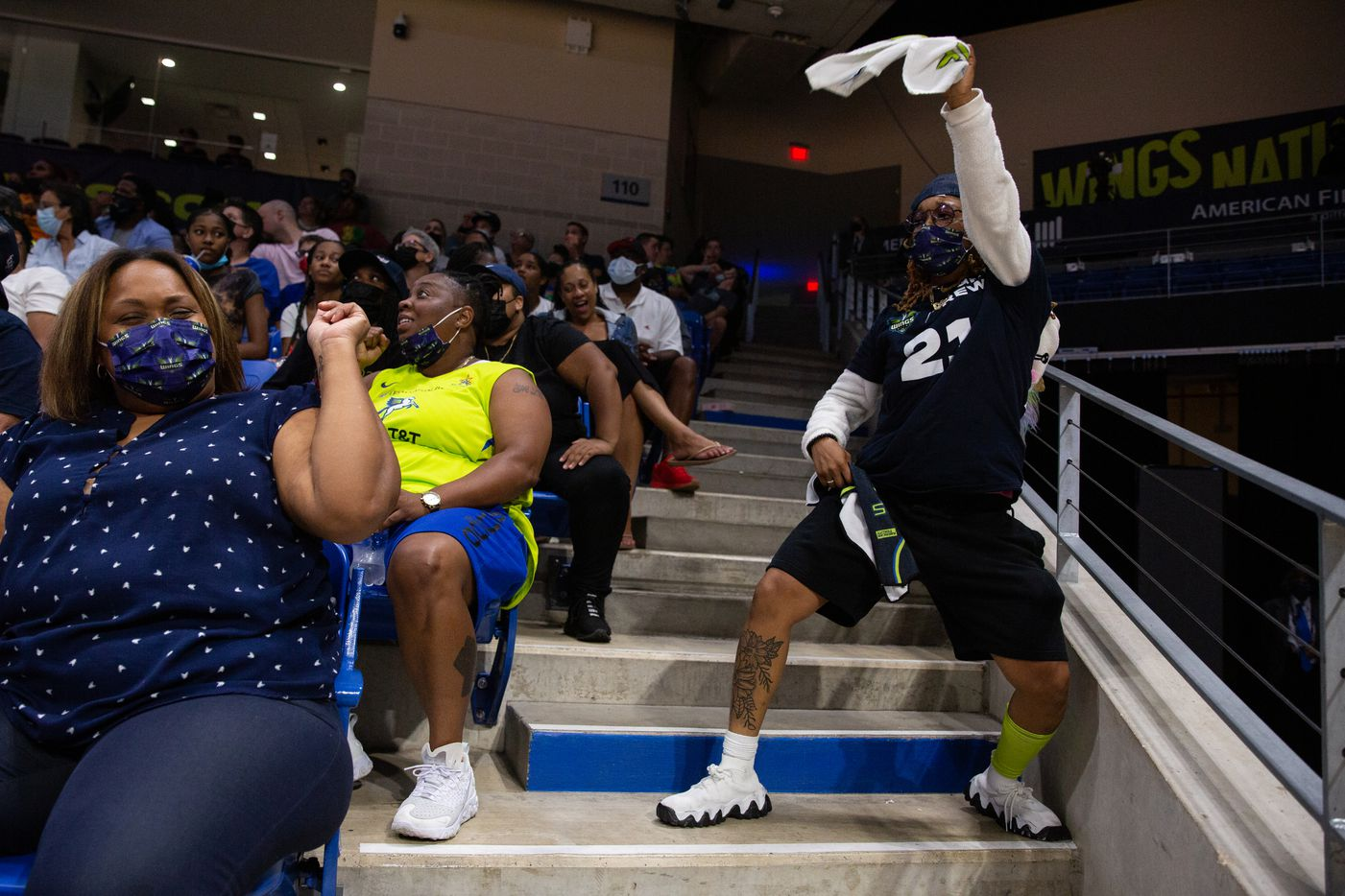 Alaya Cohen dances during the Dallas Wings game against New York Liberty at College Park Center in Arlington, TX on September 11, 2021.  (Shelby Tauber/Special Contributor)