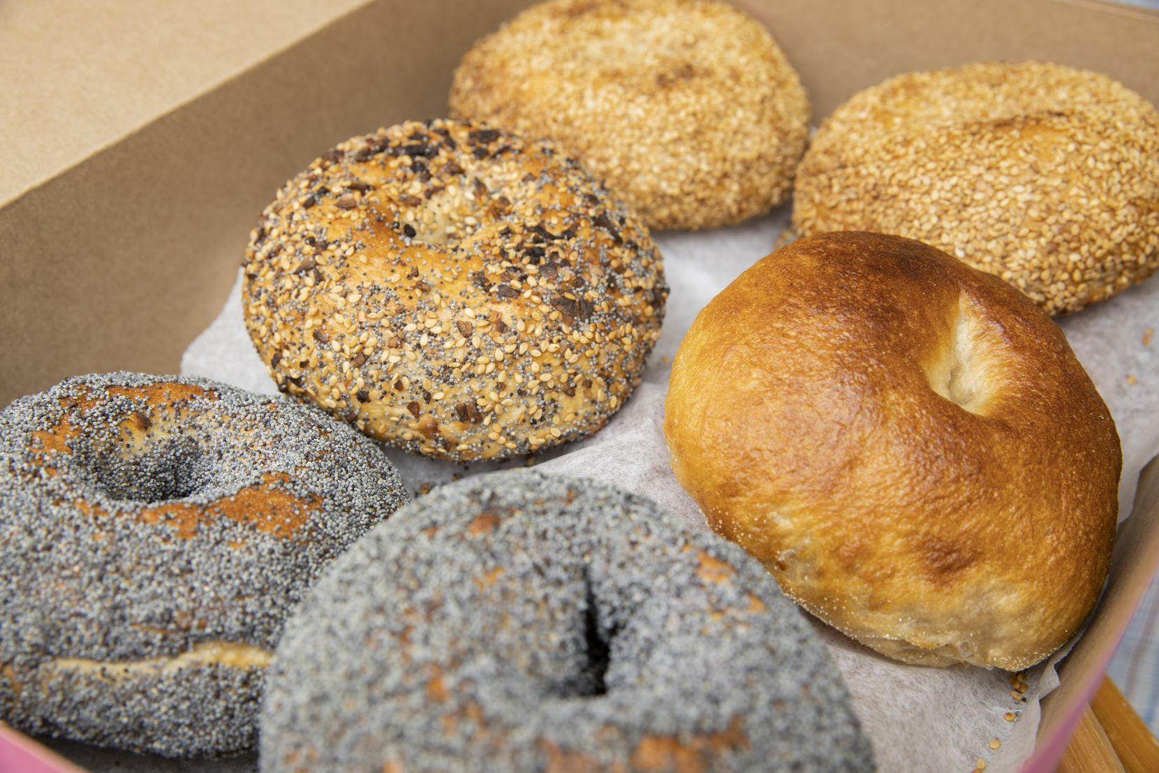 Classic plain, poppy seed, sesame seed and the everything bagel from Lenore's Bagels
