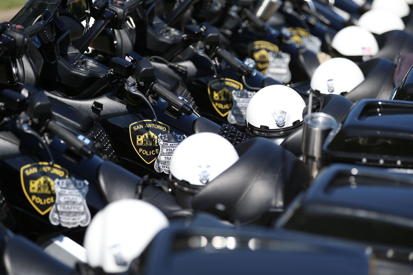 The motorcycles of San Antonio police officers are shown before the funeral for Dallas police sergeant Michael Smith at Watermark Church in Dallas Thursday July 14, 2016. Smith and four other officers were killed during an attack following a peaceful Black Lives Matter protest on July 7. (Andy Jacobsohn/Staff Photographer)