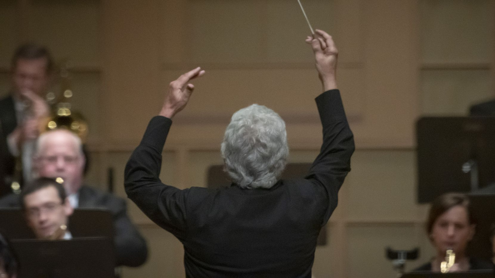 Guest conductor Peter Oundjian leads the Dallas Symphony Orchestra in Glinka's 'Ruslan and Lyudmila' Overture at the Meyerson Symphony Center on May 28 in Dallas.
