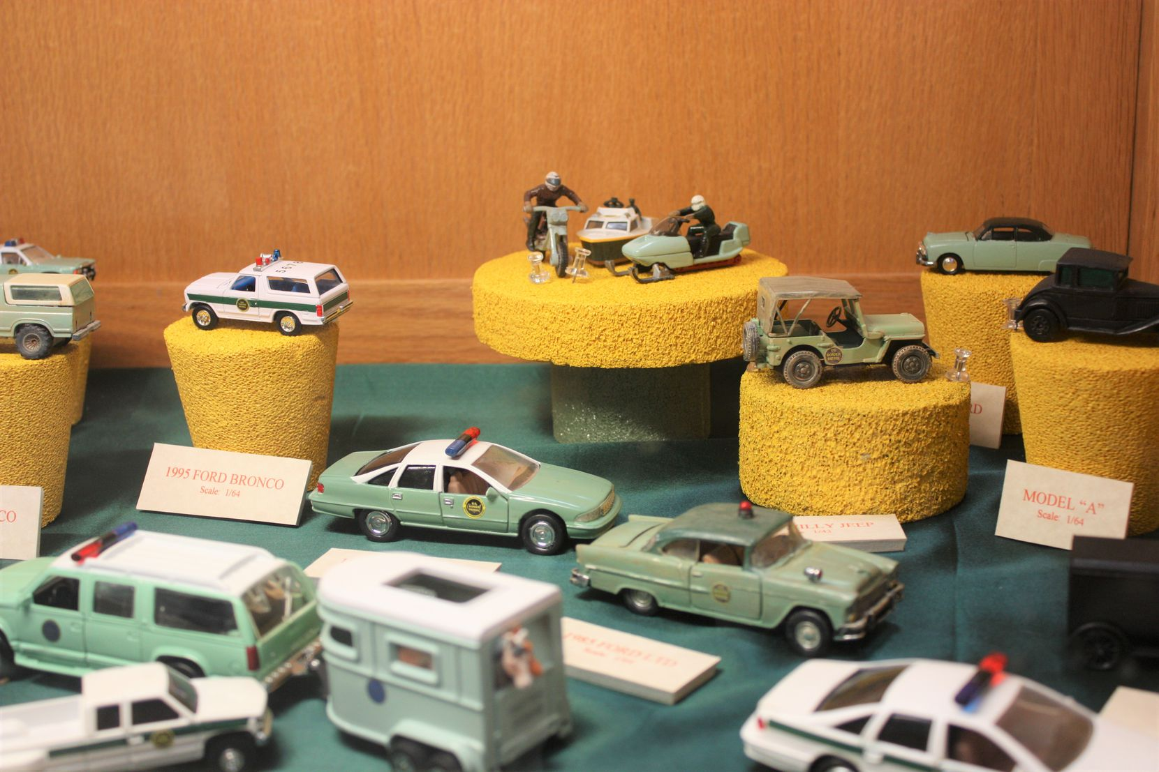 Models at the museum show various vehicles used over the years by Border Patrol agents.